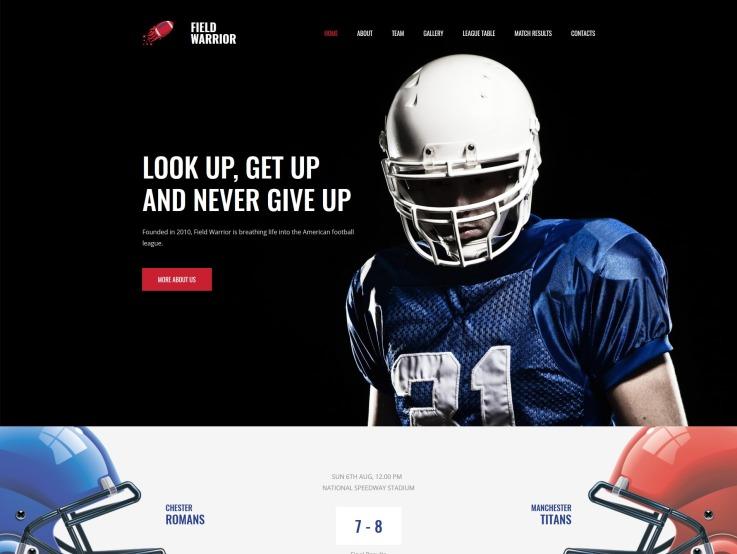 Football Website Design - Field Warrior - main image