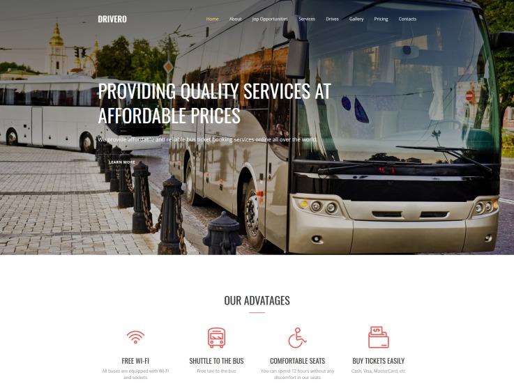 Bus Rental Website Design - Drivero