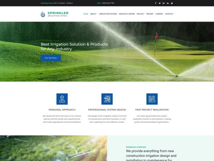 Irrigation Website Design for Sprinkler and Water Systems - main image
