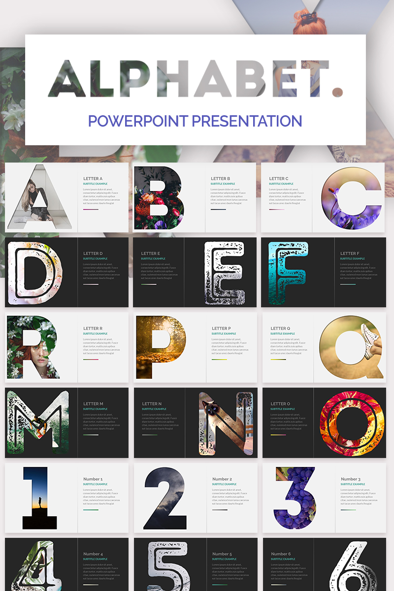 """Alphabet Powerpoint"" PowerPoint 模板 #73848"
