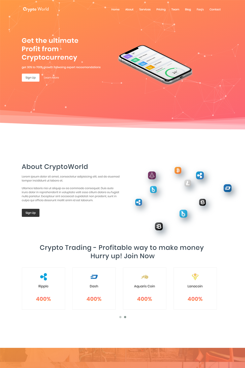 Bootstrap szablon Landing Page CyrptoWorld - Bitcoin trading #73873