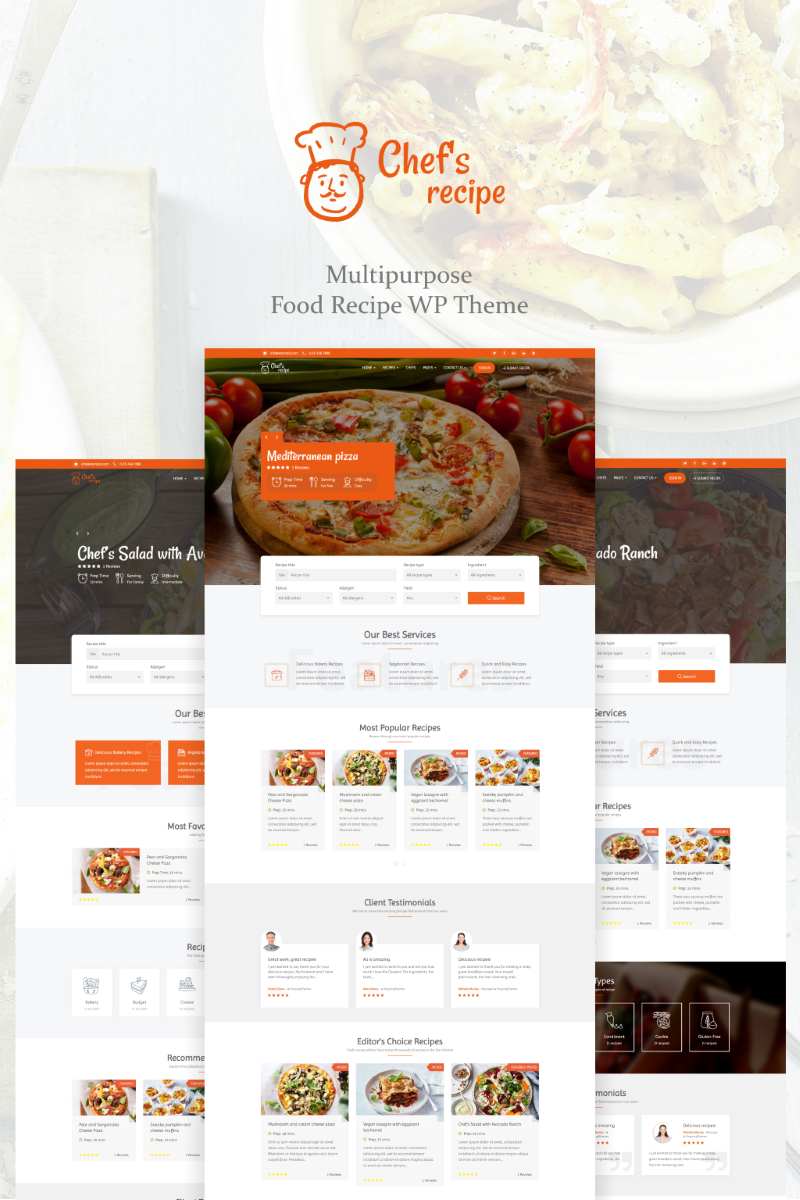 Chef's Recipe - Food & Recipe Tema WordPress №73859