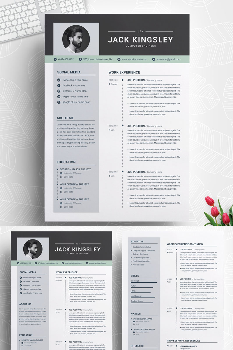 jack kingsley creative resume template  73887