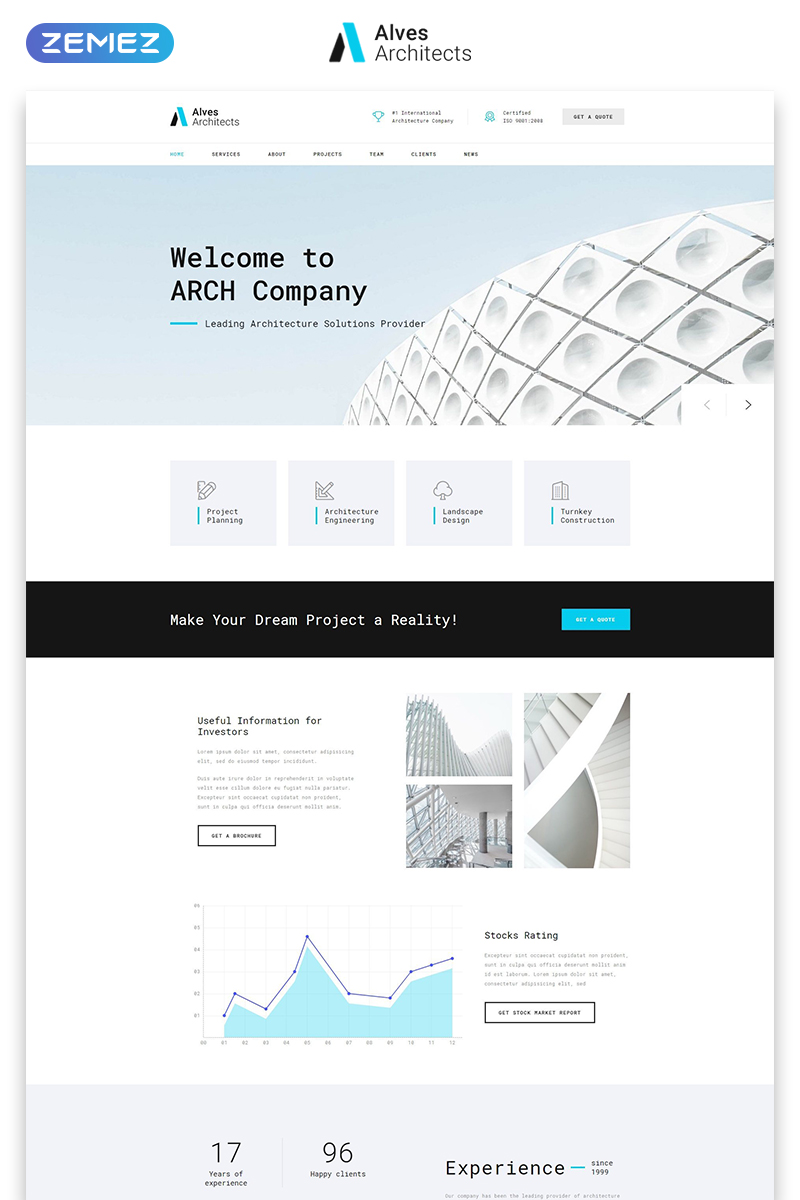 "Landing Page Template namens ""Alves Architects - Light Architecture Company HTML"" #73838"