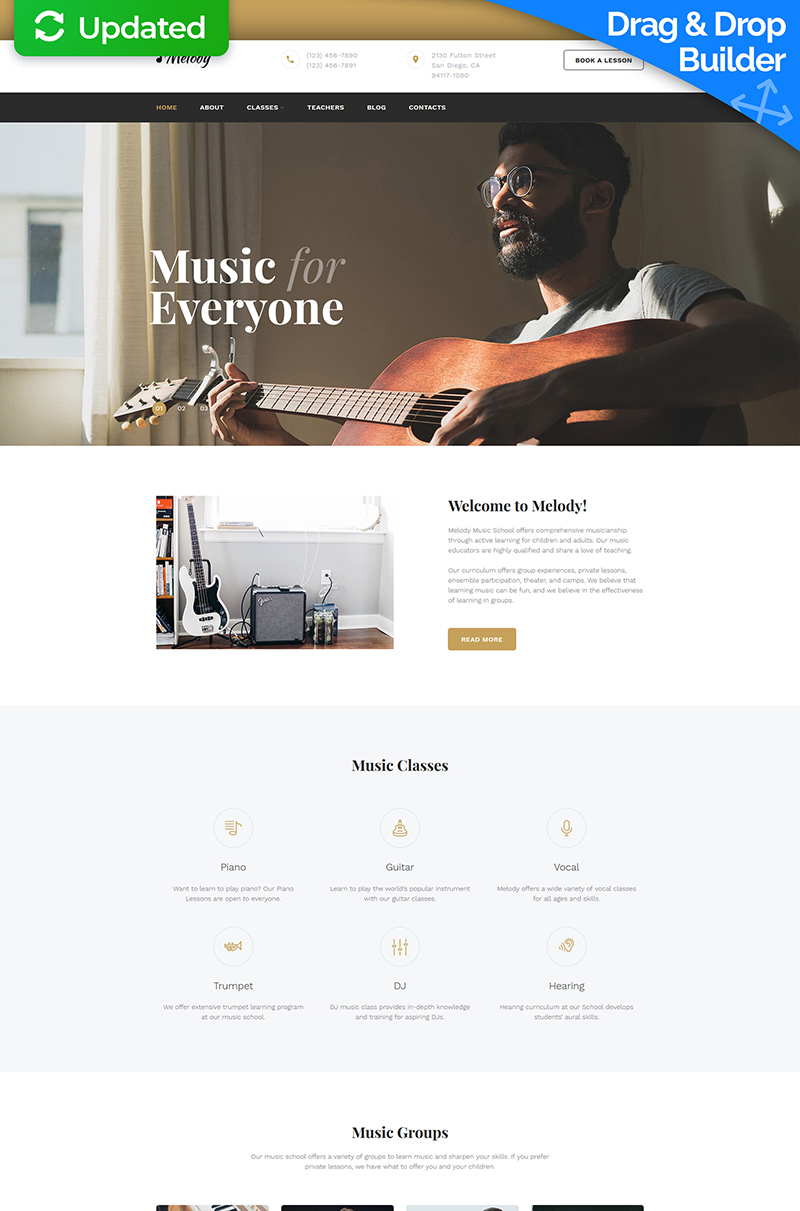 Melody - Music School Moto CMS 3 Template