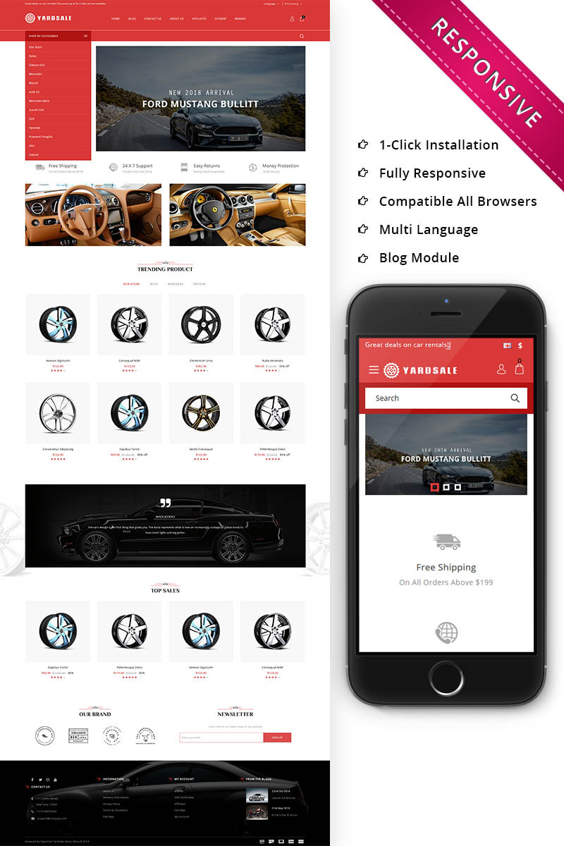 "Modello OpenCart Responsive #73835 ""Yardsale - Automobile Store Premium"" - screenshot"