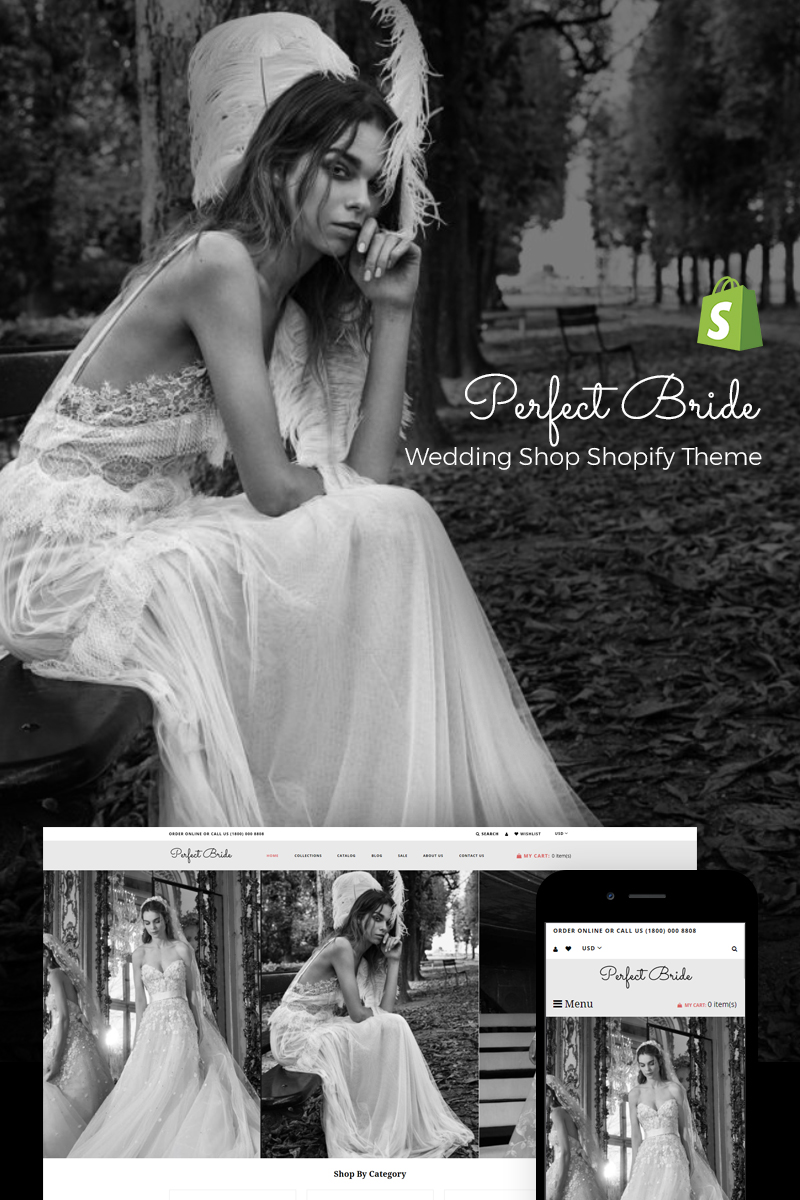 "Modello Shopify Responsive #73814 ""Perfect Bride - Sophisticated Wedding Online Store"""