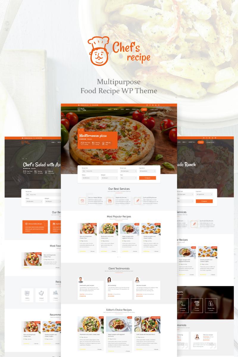 """Modello WordPress Responsive #73859 """"Chef's Recipe - Food & Recipe"""""""