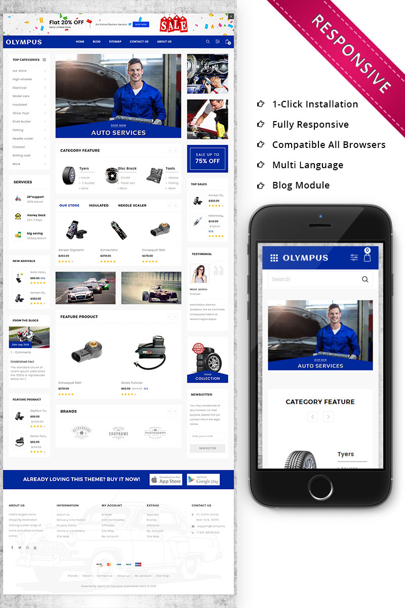 """""""Olympus - Automobile Store Premium"""" thème OpenCart adaptatif #73851"""