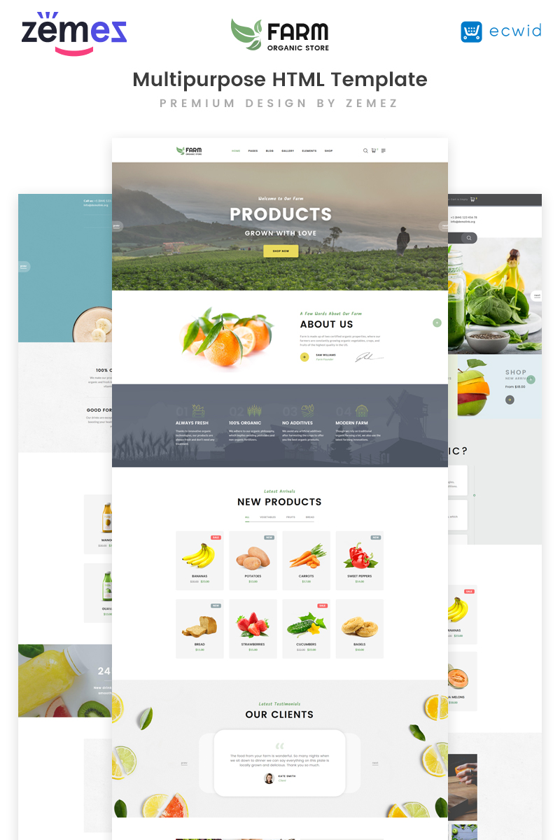 """Organic Farm Multipurpose HTML"" 响应式网页模板 #73860"