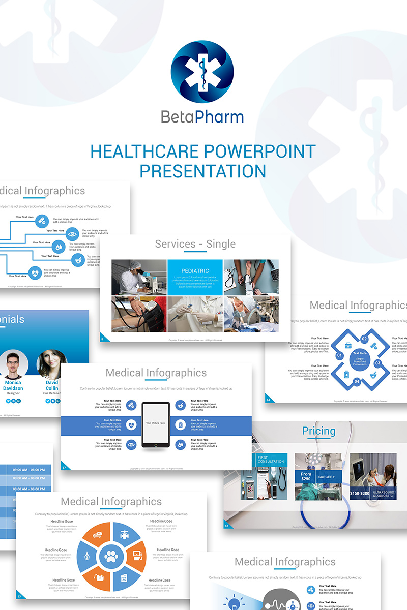 "PowerPoint šablona ""BetaPharm Healthcare PPT Slides"" #73809 - screenshot"