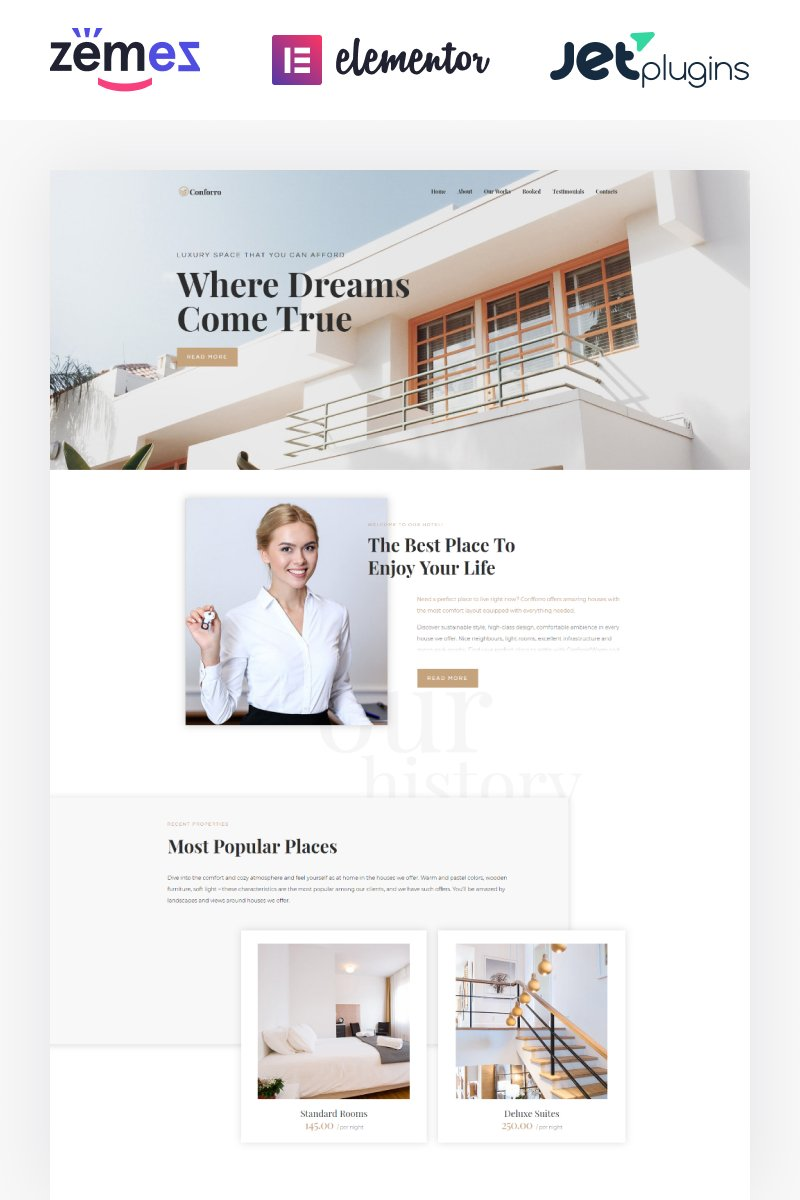 Responsivt Conforro - Real Estate Elemetor WordPress-tema #73802