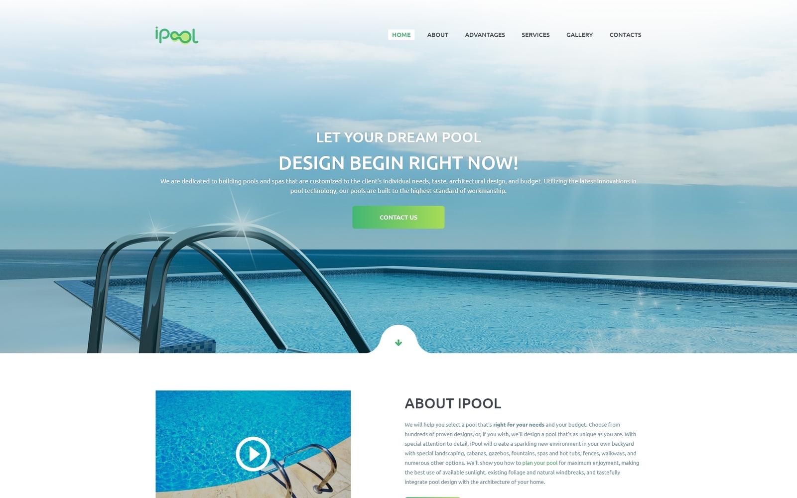 Responsivt iPool - Pool Design HTML Landing Page-mall #73885