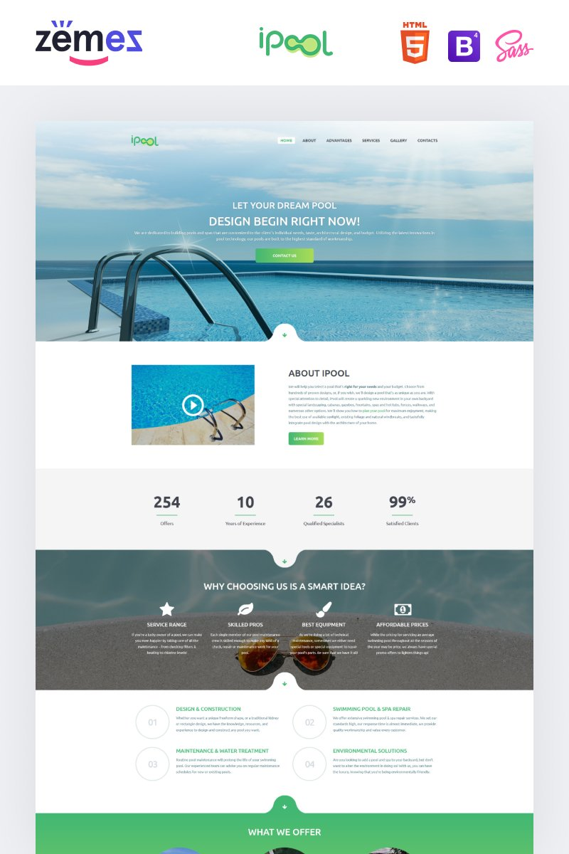 Responsivt iPool - Pool Design HTML Landing Page-mall #73885