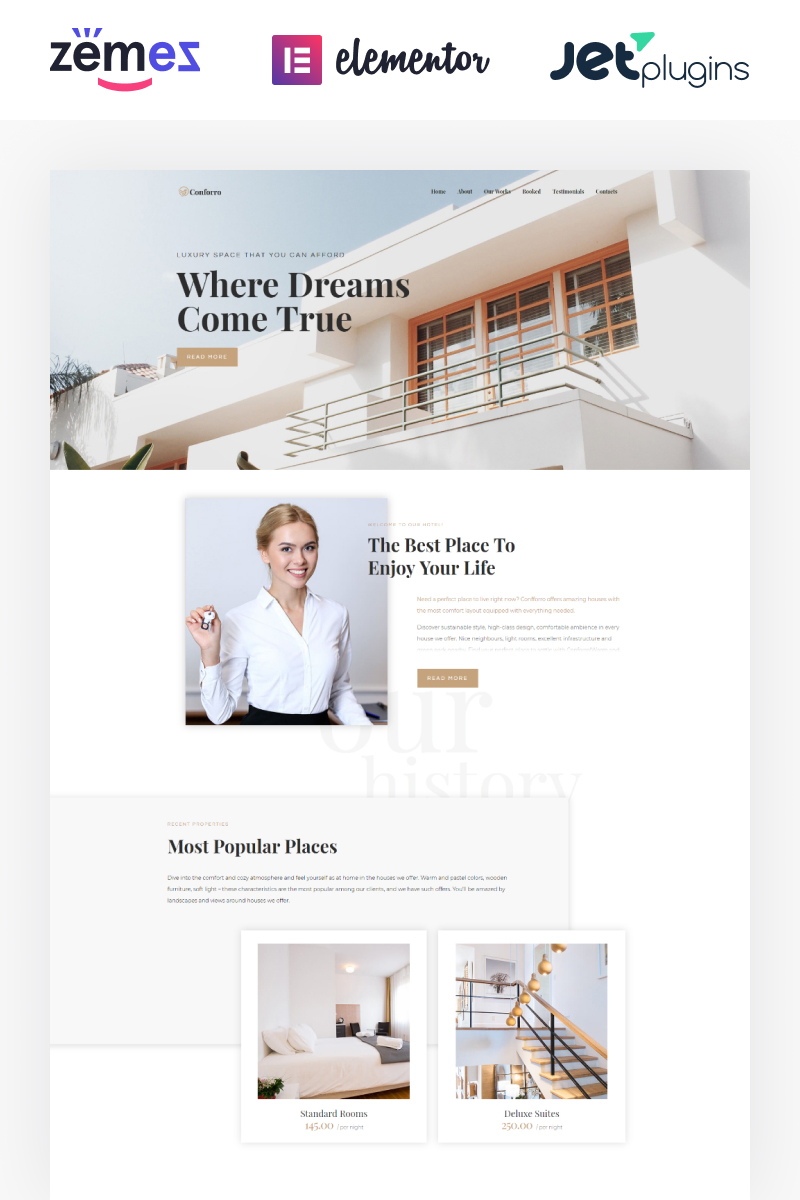 "Responzivní WordPress motiv ""Conforro - Real Estate Elementor"" #73802"