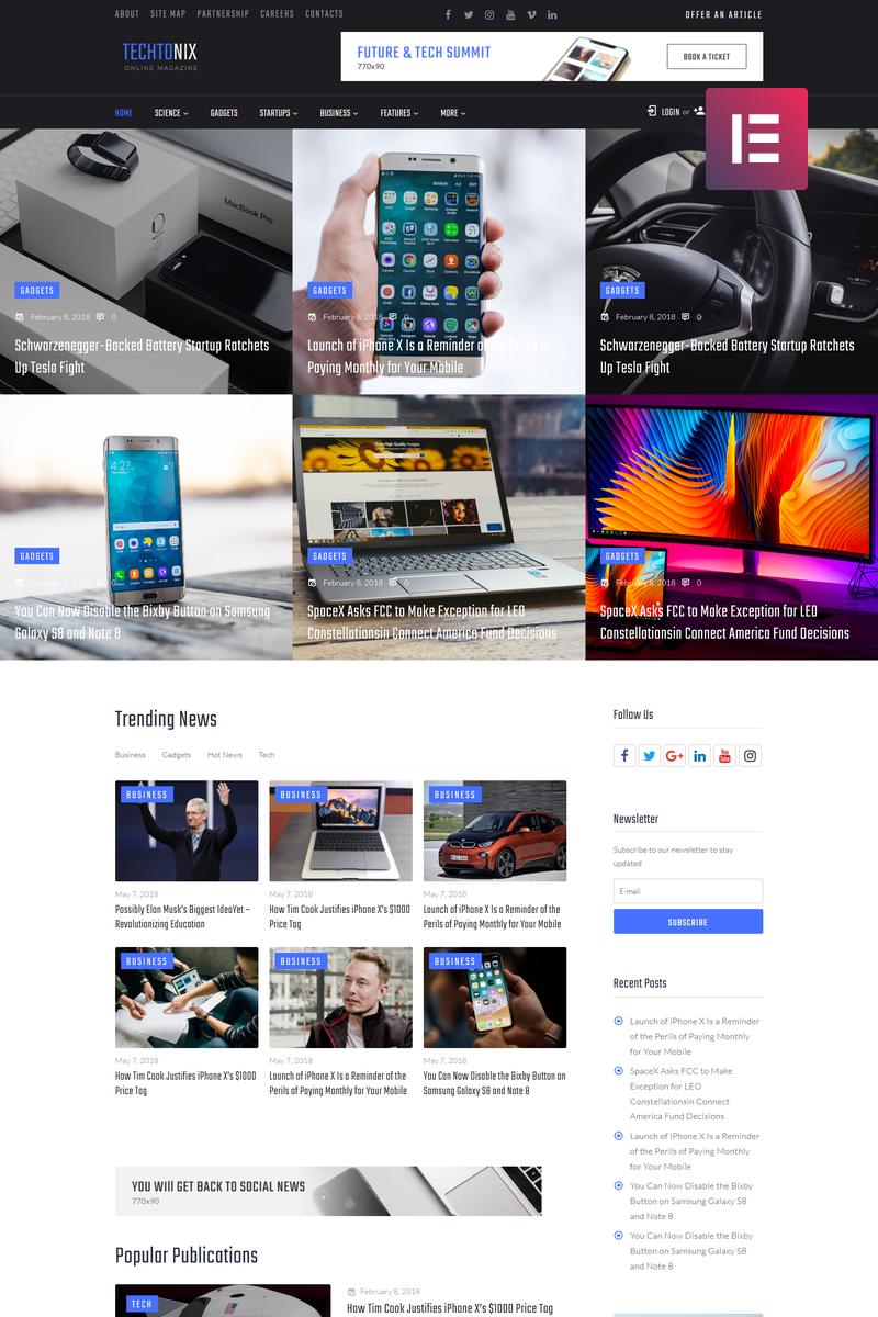 """Techtonix - Tech Blog Elementor"" - адаптивний WordPress шаблон №73855"
