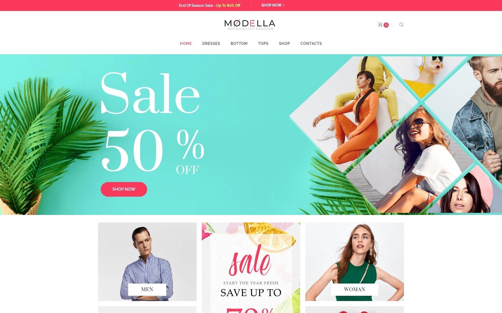 "Tema WooCommerce ""Modella - Fashion Store Elementor"" #73882"