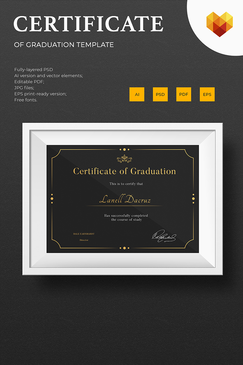 "Zertifikat-Vorlage namens ""Graduation"" #73893 - Screenshot"