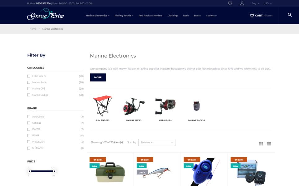 Grosse Prise - Fishing Gear Store PrestaShop Theme