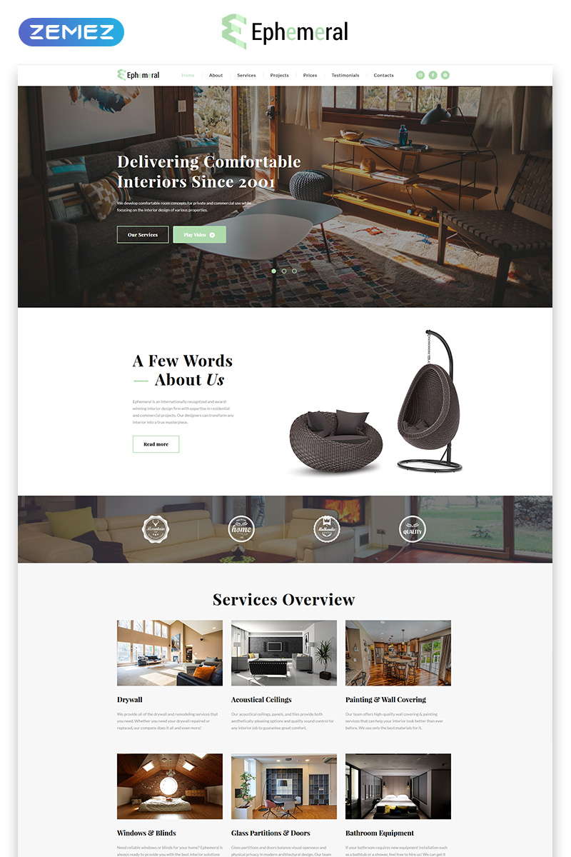 Plantilla para landing page - Categoría: Decoración y muebles - versión para Desktop