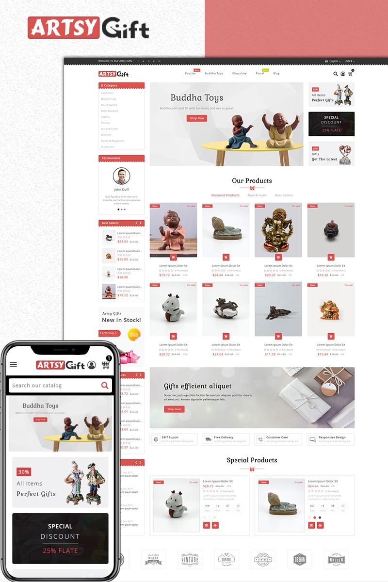 """Artsygift- Gift Store"" Responsive PrestaShop Thema №73971"