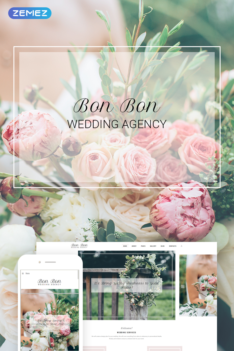 """Bon Bon - Wedding Agency"" - адаптивний Joomla шаблон №73958 - скріншот"