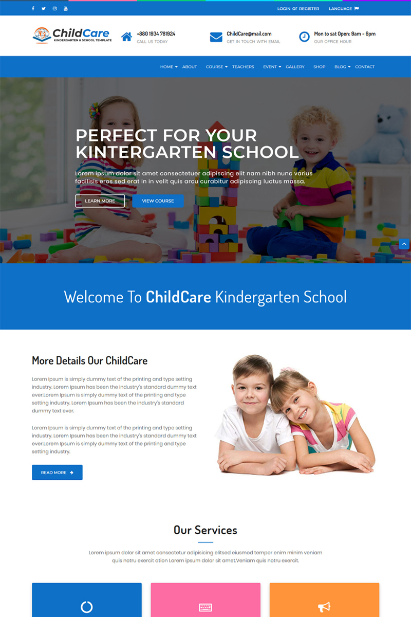 """ChildCare - Kindergarten & School HTML"" modèle web adaptatif #73989 - screenshot"