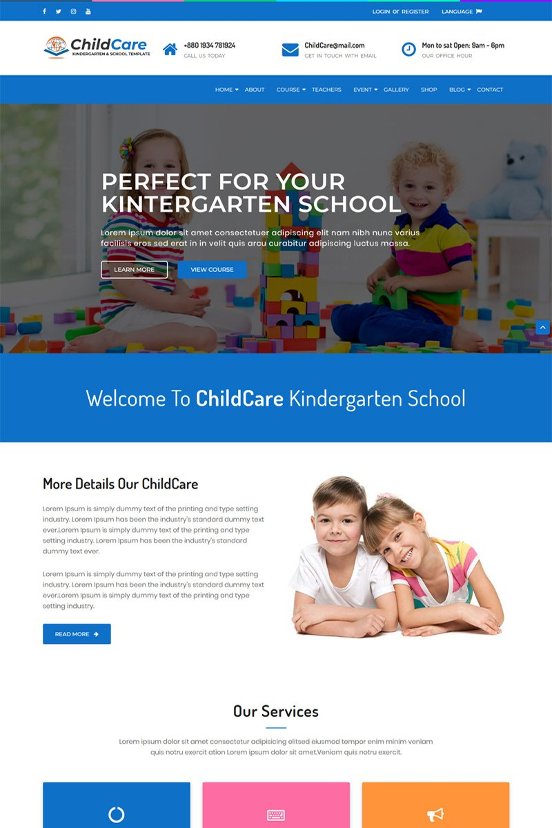 ChildCare - Kindergarten & School HTML Template Website Template