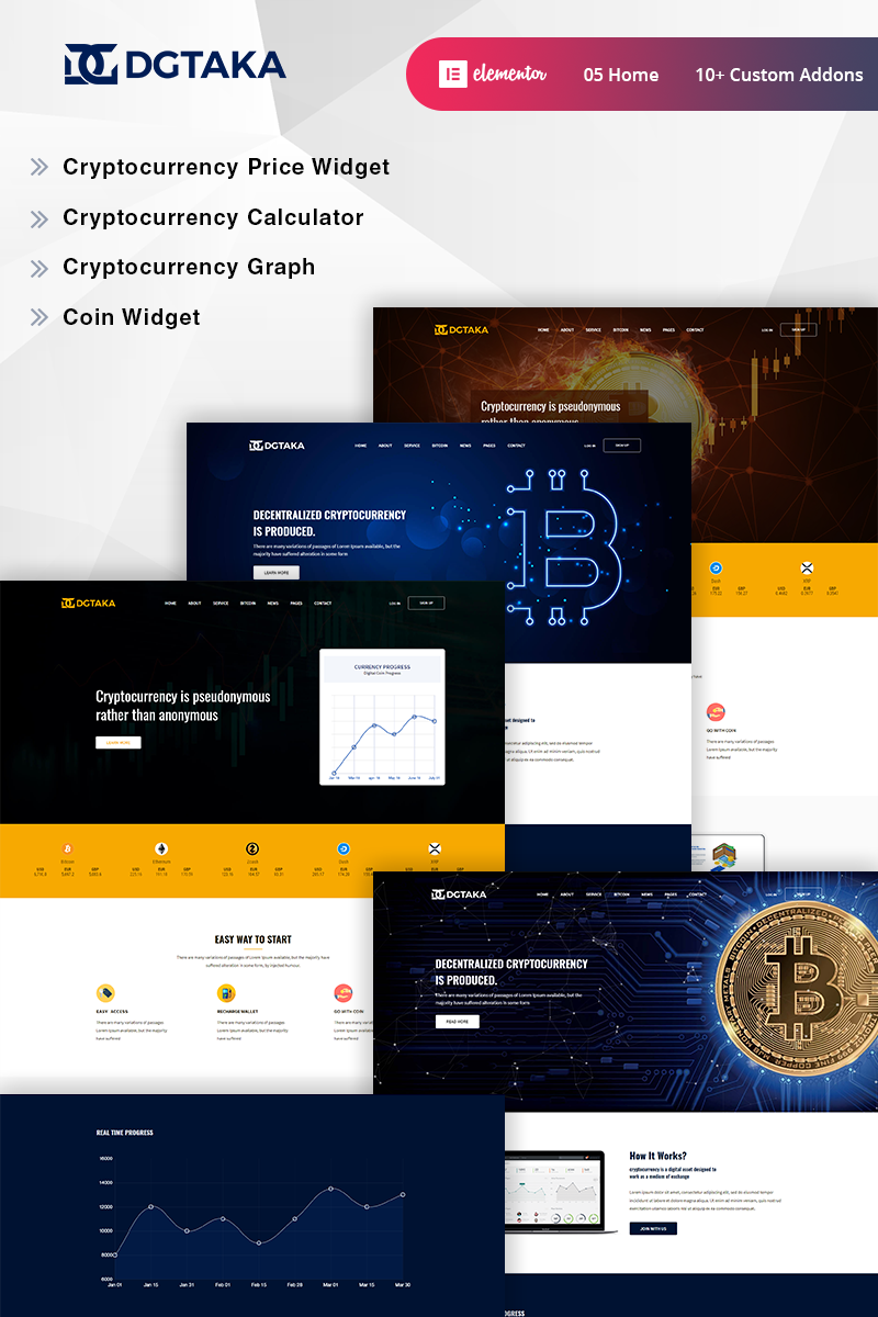 """Dgtaka - CryptoCurrency"" thème WordPress adaptatif #73901"