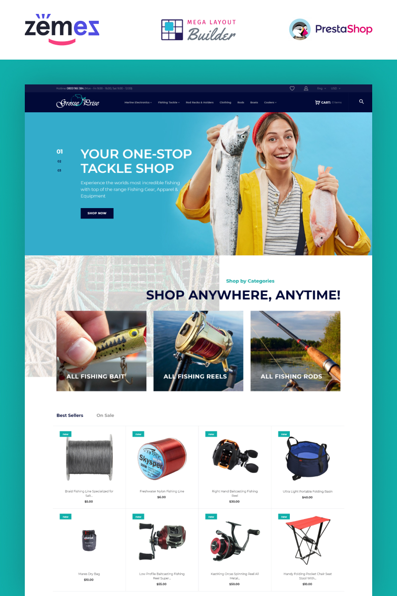 """Grosse Prise - Fishing Gear Store"" - адаптивний PrestaShop шаблон №73967"