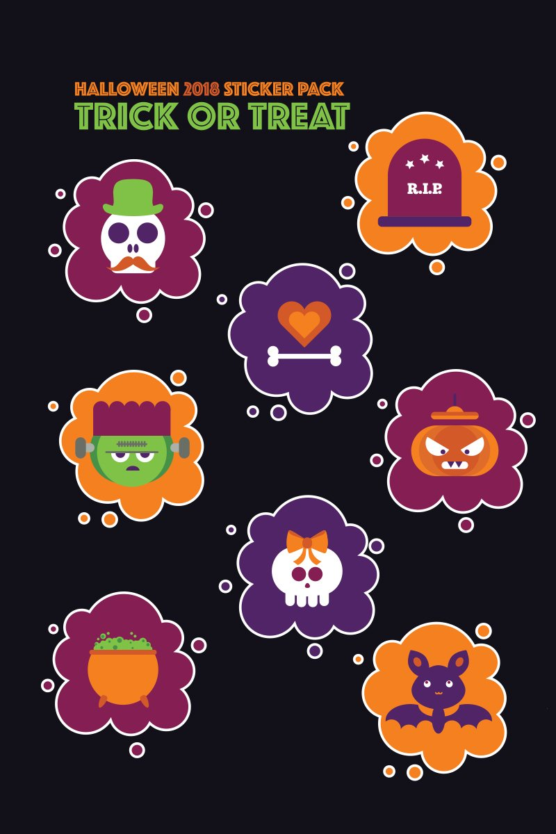 """Halloween Stickers Pack: Trick or Treat"" illustration  #73917 - screenshot"