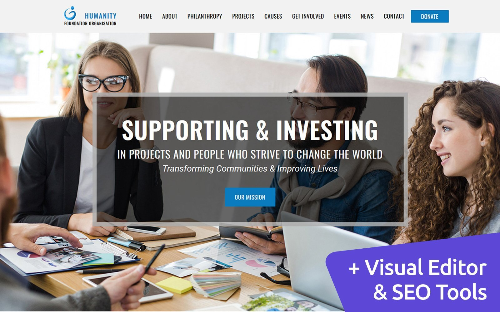 """Humanity - Foundation"" Responsive Moto CMS 3 Template №73969"