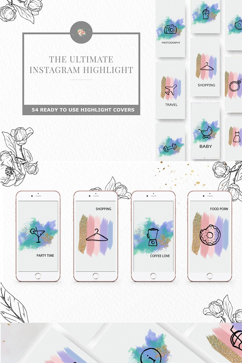 """Instagram Highlight"" Iconset template №73925"