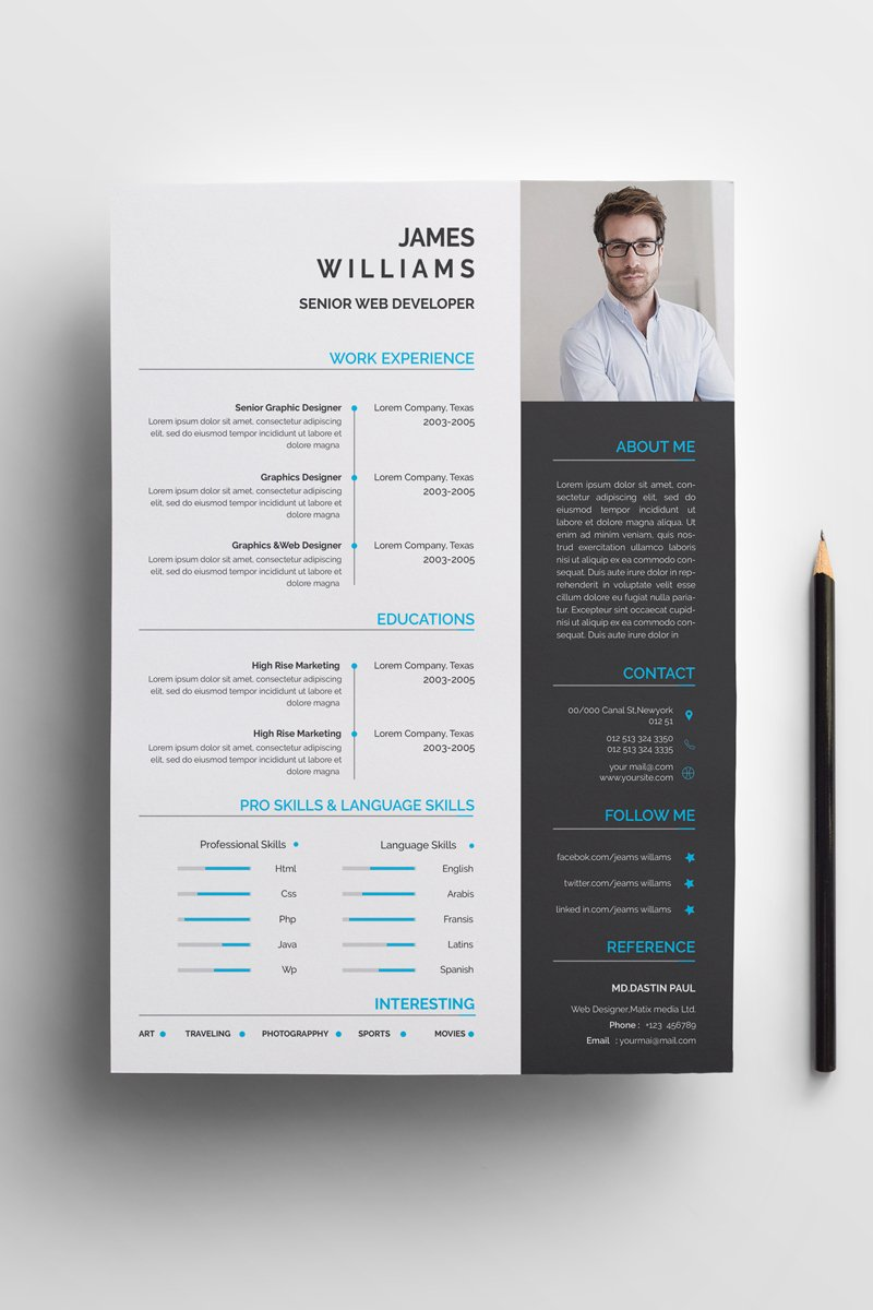 james graphic web developer resume template  73972