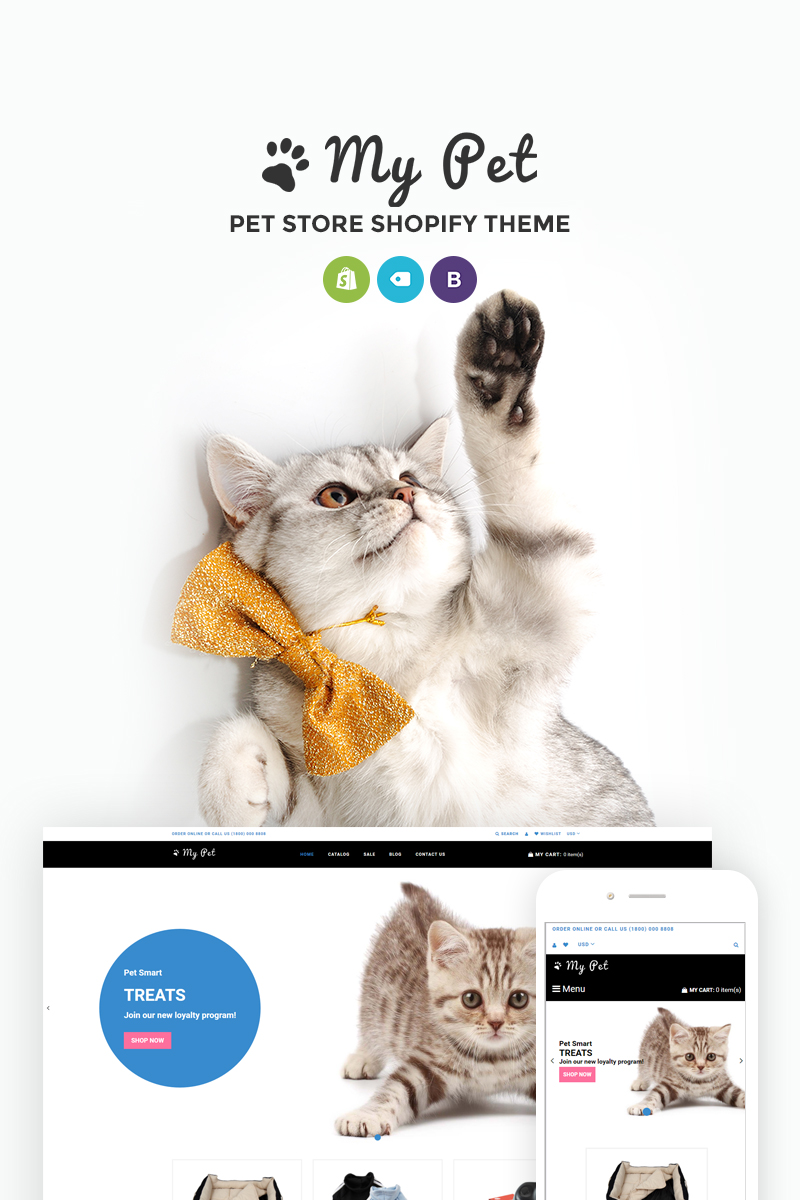 """My Pet - Pet Shop"" Responsive Shopify Thema №73966"