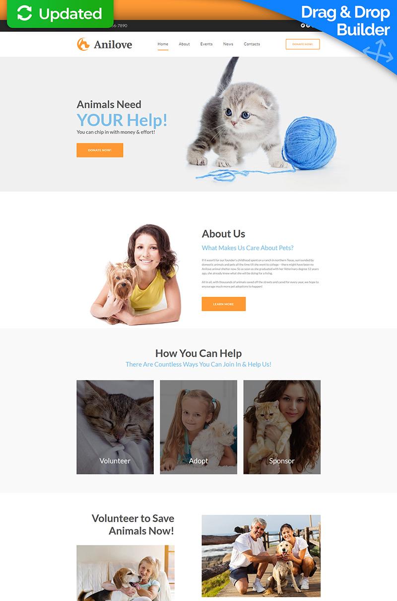 """Responzivní Moto CMS 3 šablona """"Anilove - Animal Shelter"""" #73996"""