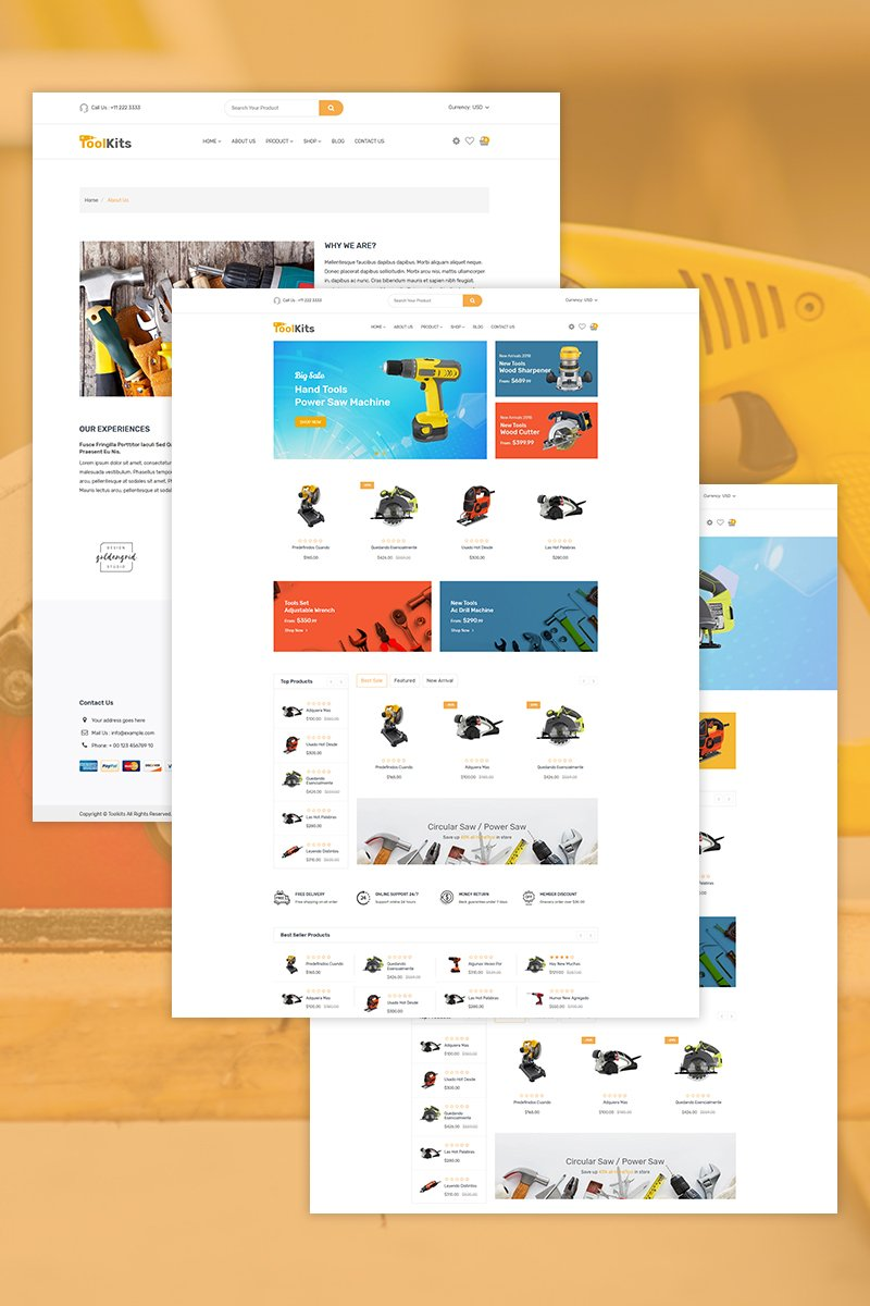 Reszponzív Toolkits - Tools, Equipment Store Shopify sablon 73915