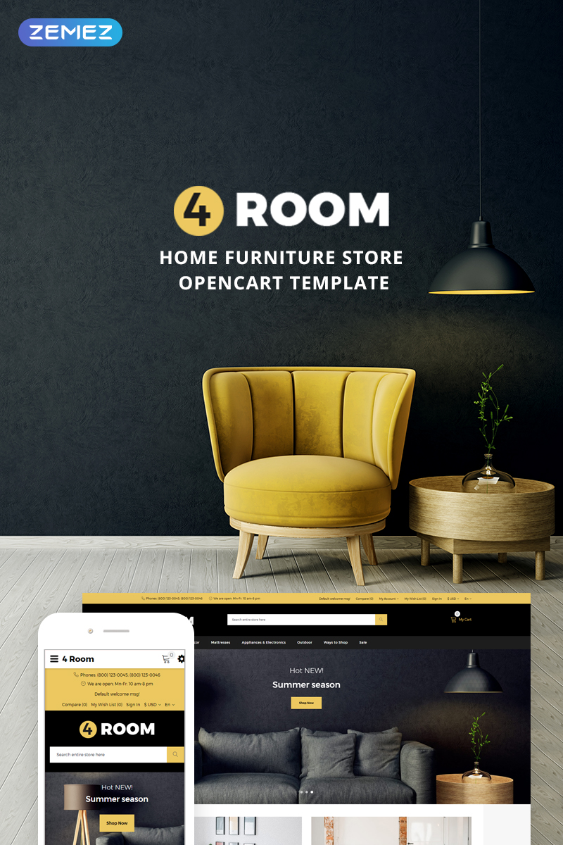 """4 Room - Home Furniture Store"" thème OpenCart adaptatif #73959"