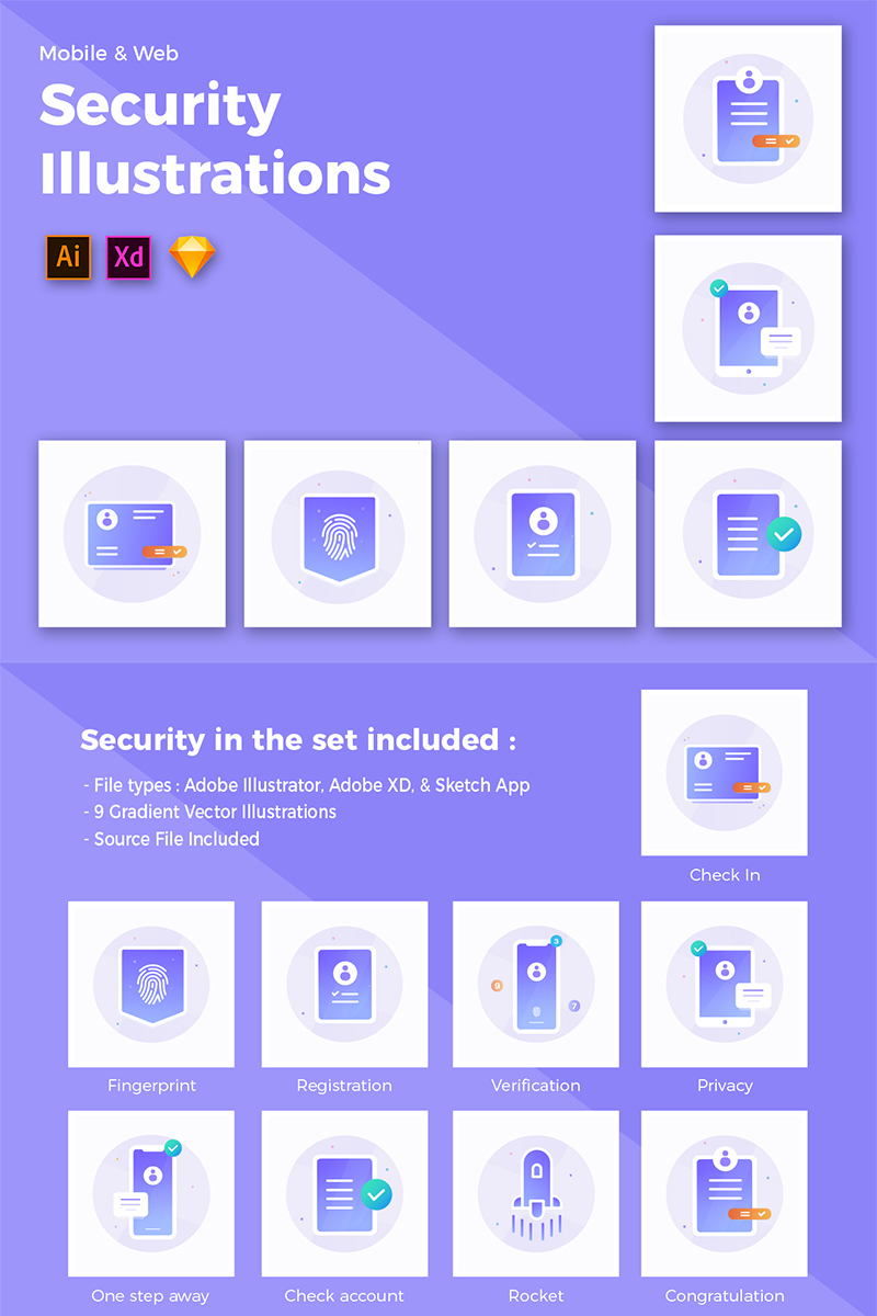 Security Illustration Iconset Template