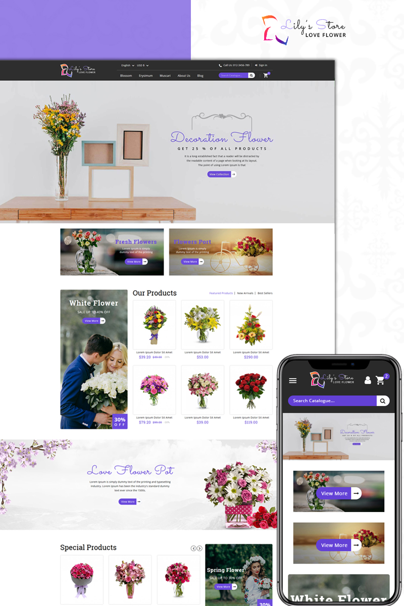 "Tema De PrestaShop ""Lily's Flower Store"" #73957"