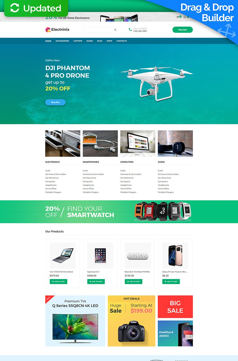 "Tema MotoCMS E-commerce Responsive #73920 ""Electrinix - Electronics Shop"""