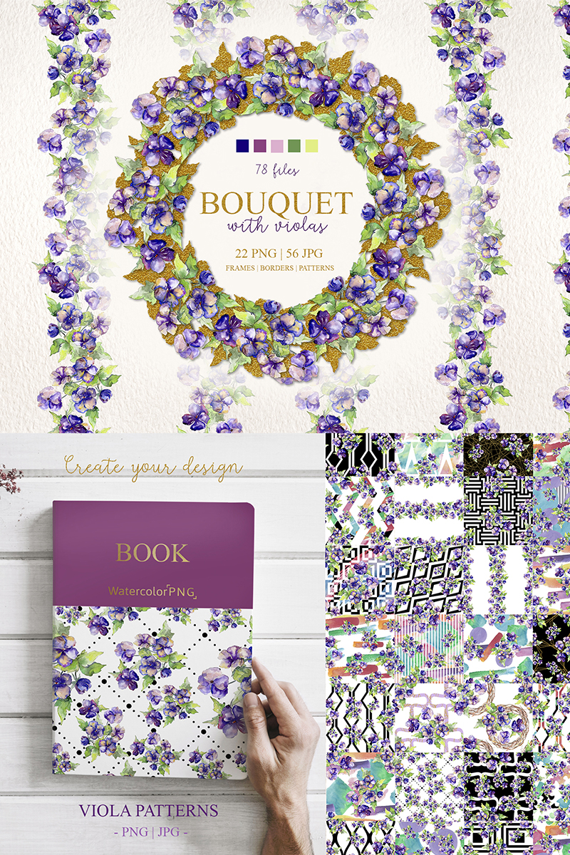 Bouquet With Violas PNG Watercolor Set Illustration - screenshot