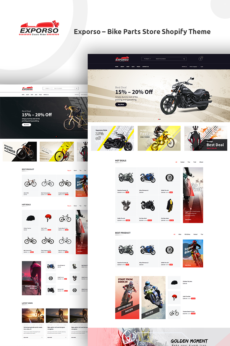 """""""Exporso - Bike Parts Store"""" 响应式Shopify模板 #74006"""