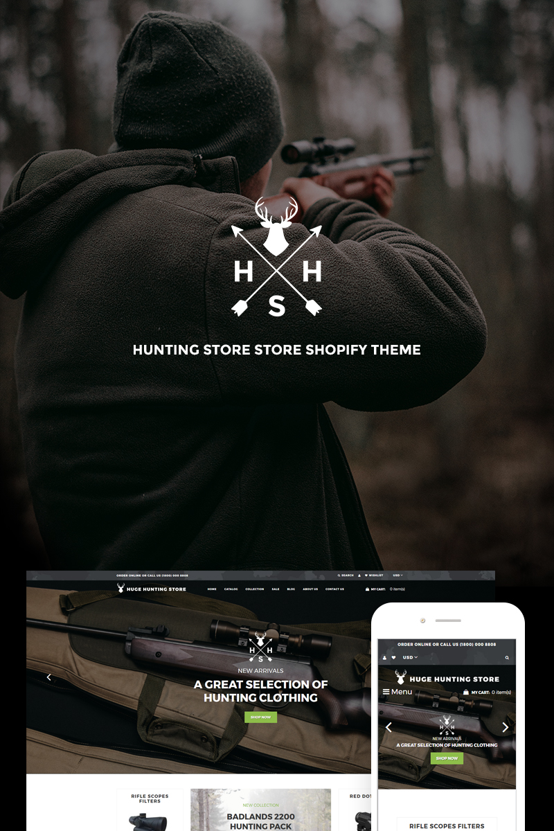 """""""Huge Hunting - Hunting Store"""" Responsive Shopify Thema №74088"""