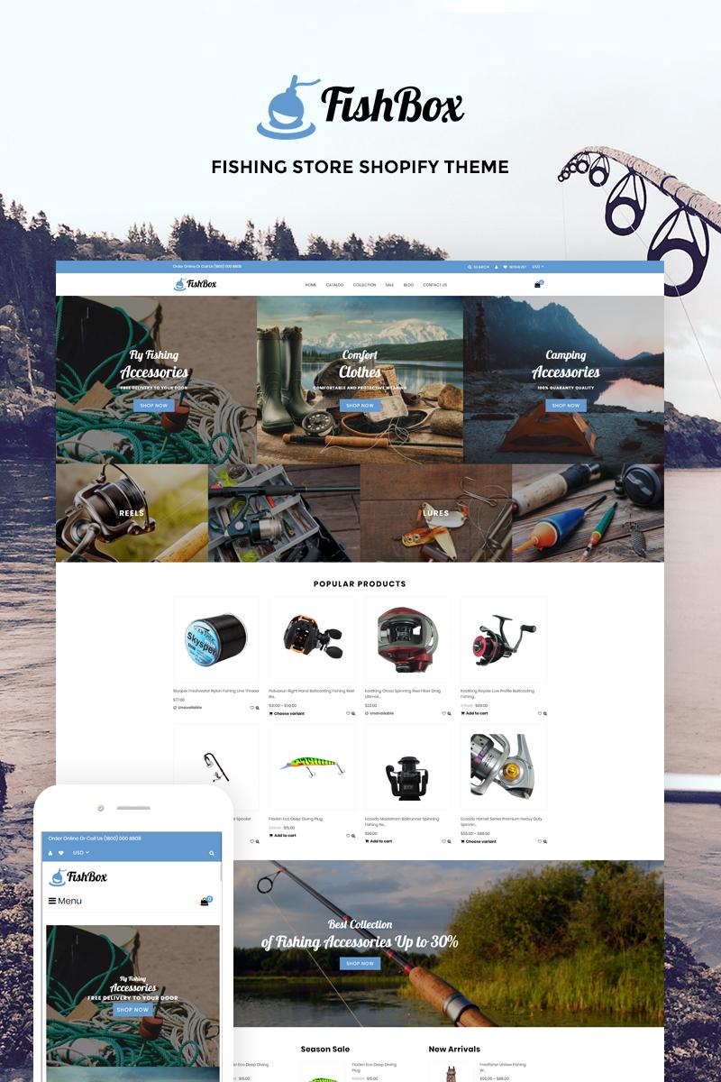 "Modello Shopify Responsive #74087 ""FishBox - Attractive Fishing & Hunting Store"""