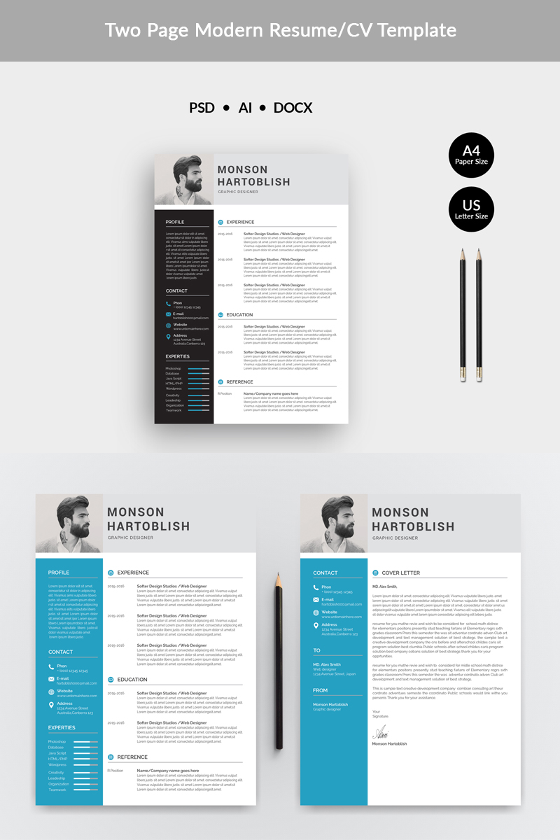 Monson Hartoblish Modern Resume Template