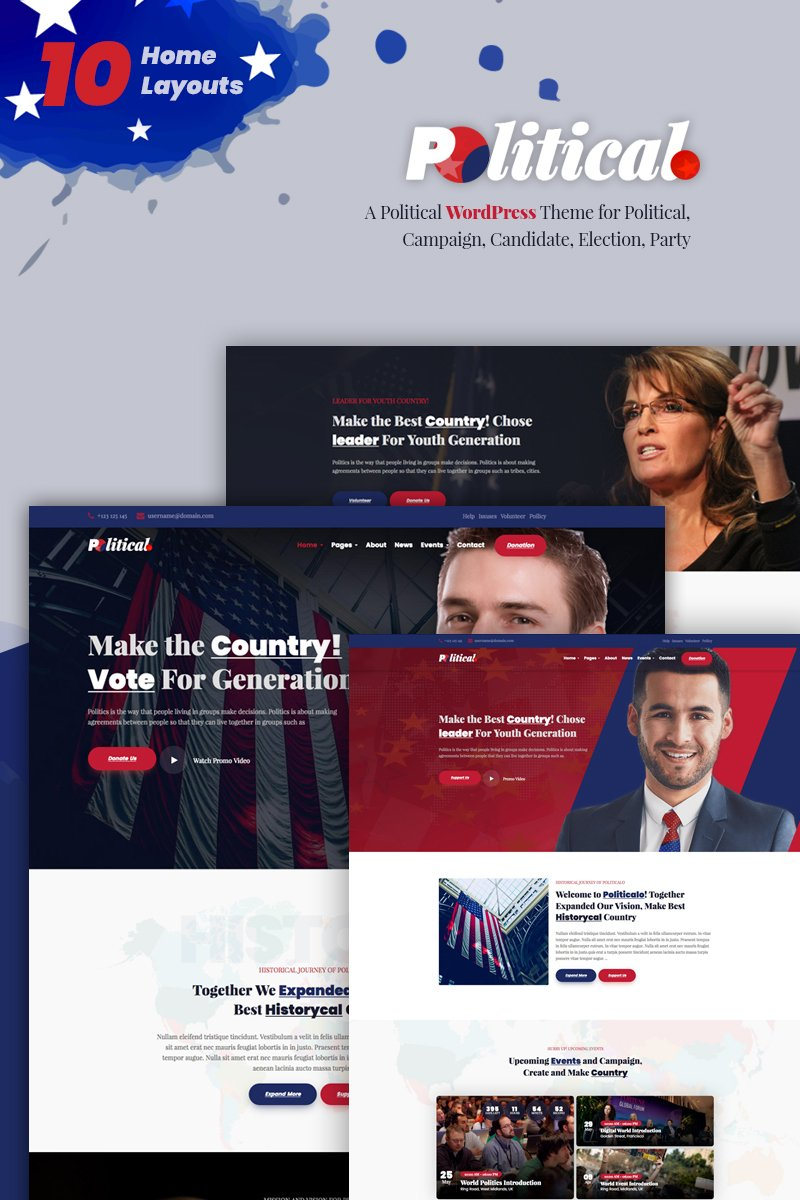 """""""Politicalo - Political and Candidate"""" Bootstrap WordPress thema №74002"""