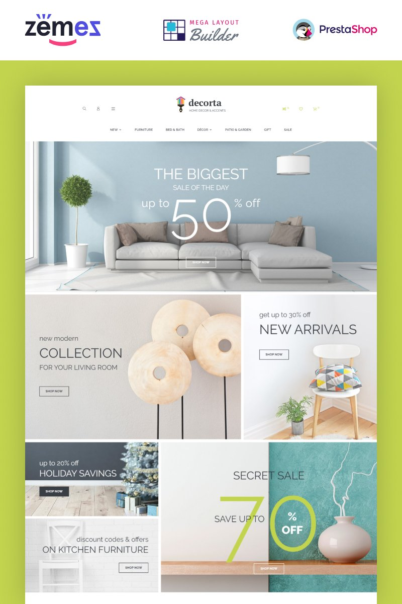 "PrestaShop Theme namens ""Decorta - Furniture Store"" #74074"