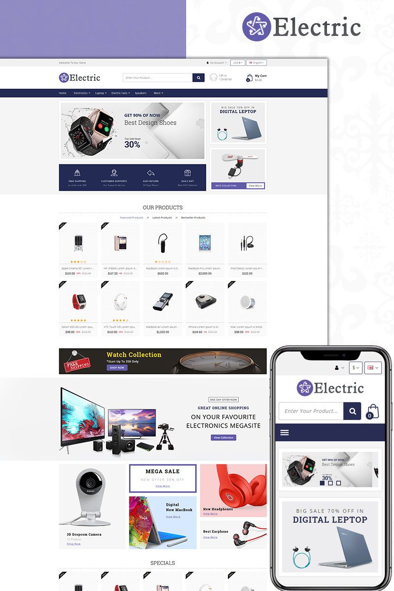 Responsive Electric - Electronics Store Opencart #74094