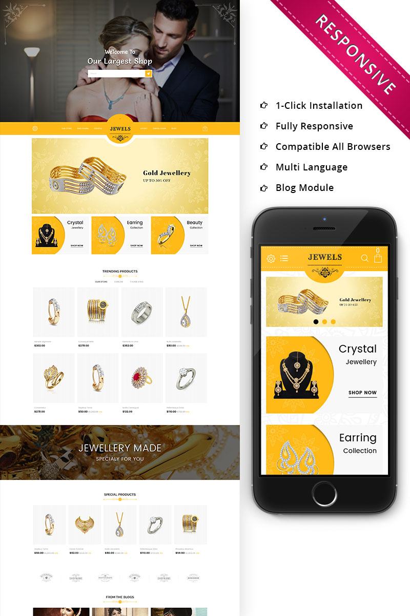Responsivt Jewels - Responsive Premium OpenCart-mall #74028
